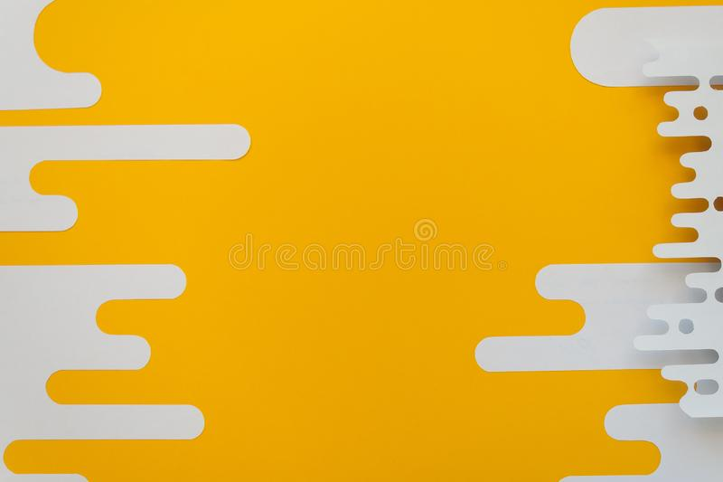 Abstract shapes. Trendy lines in a modern material design style. Abstract shapes. Trendy white lines in a modern material design style on yellow background royalty free stock photos