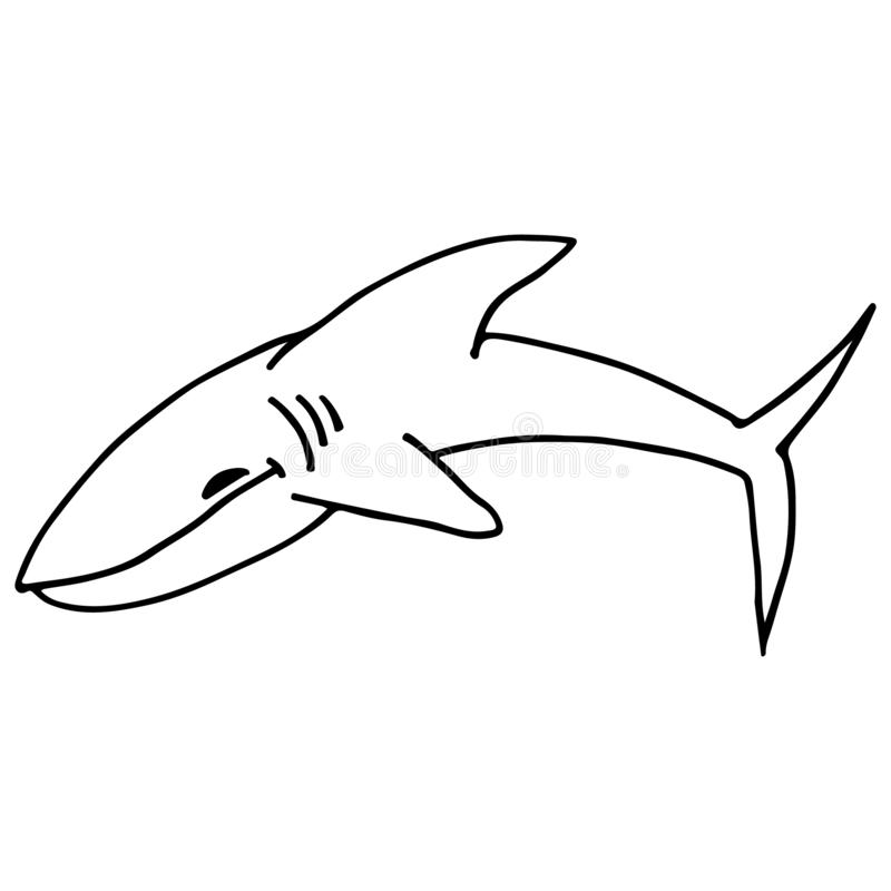 Abstract shark outline. Shark icon, great design for any purposes. Vector outline illustration. Hand drawn doodle illustration. vector illustration