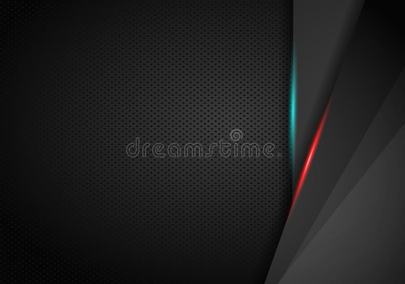 Abstract sharp metallic frame red black sports gamer concept background layout design. Vector graphic template. Technology stock illustration