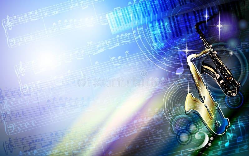 Abstract sheet grunge music texture background with saxophone. Abstract sheet grunge music colourful texture background frame with saxophone, piano keyboard stock illustration