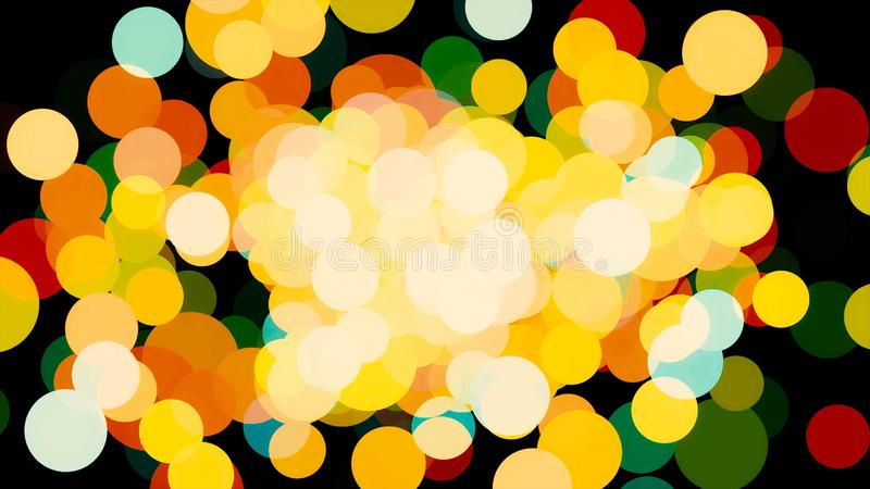 Abstract shining particles, bright confetti effect on black background. Animation. Breathtaking blurred circles flying stock illustration