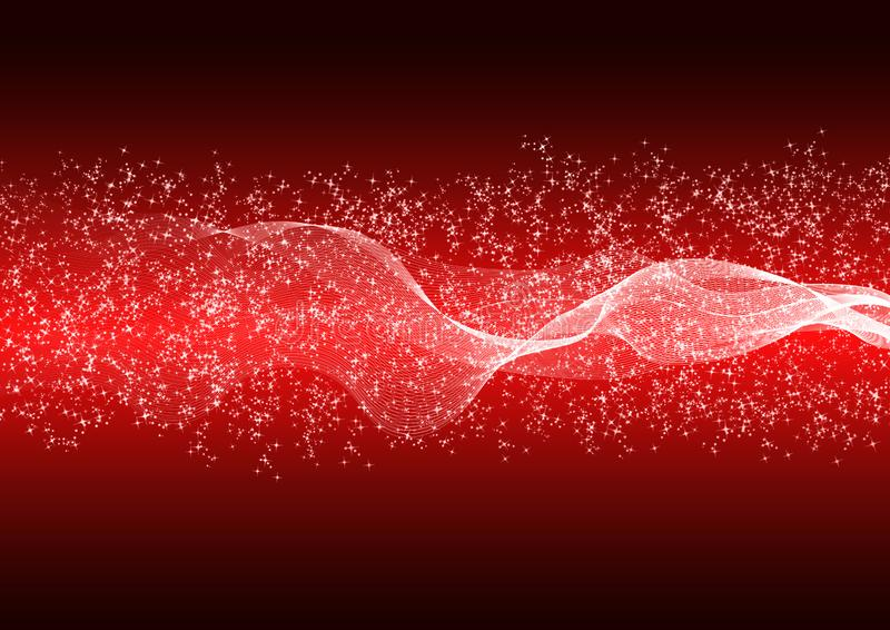 Abstract Bright Waves, Particles and Glitters in Red Gradient Background. Abstract shining waves, particles and glitters in gradated red background for web stock illustration