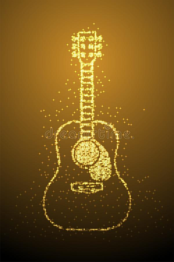 Abstract Shiny Bokeh star pattern Acoustic Guitar shape, music instrument concept design gold color illustration isolated on brown vector illustration