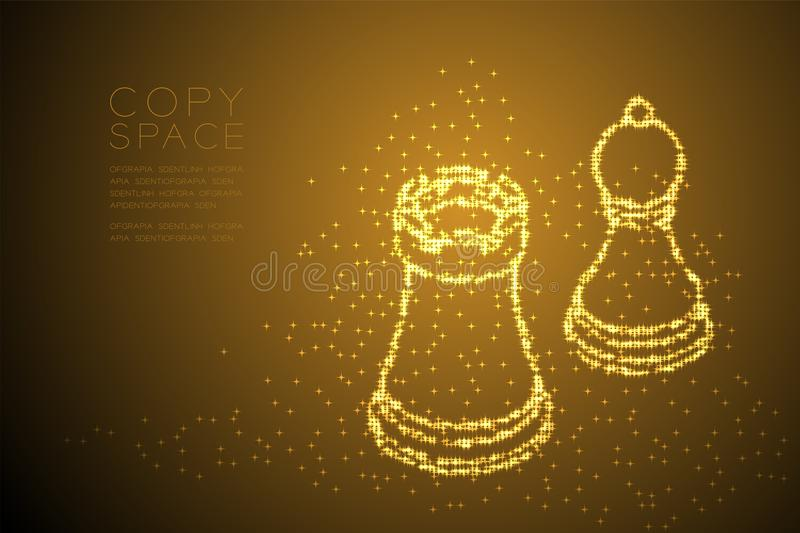 Abstract Shiny Bokeh star pattern Chess Rook and pawn shape, Business strategy concept design gold color illustration vector illustration