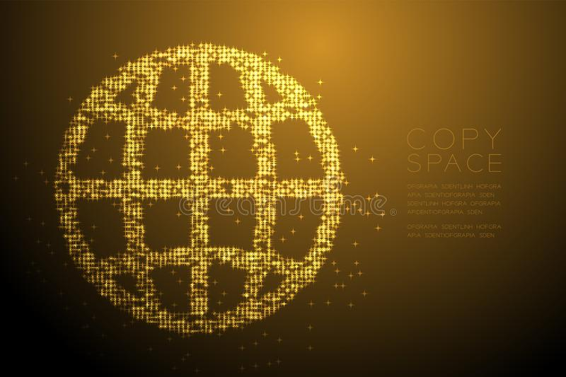 Abstract Shiny Bokeh star pattern Network icon shape, concept design gold color illustration royalty free illustration