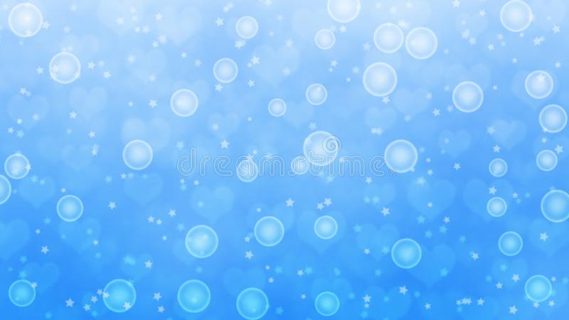 Abstract Shiny Bubbles, Blurry Stars and Hearts in Light Blue Background stock images