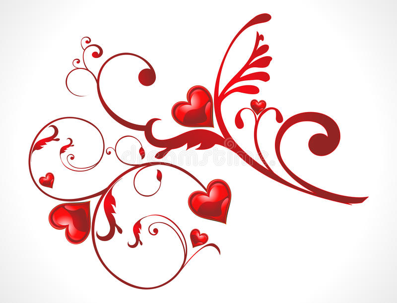 Abstract shiny floral red heart wallpaer stock illustration
