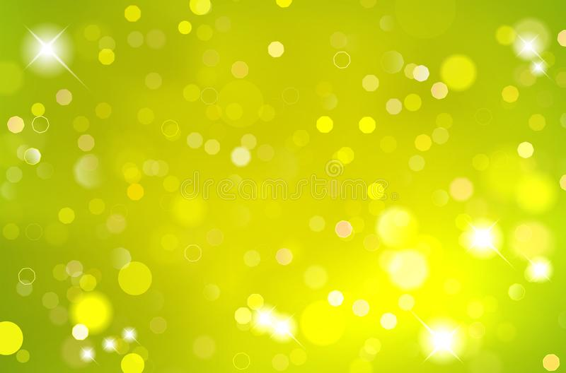 Abstract shiny green background with blurred bokeh lights royalty free illustration