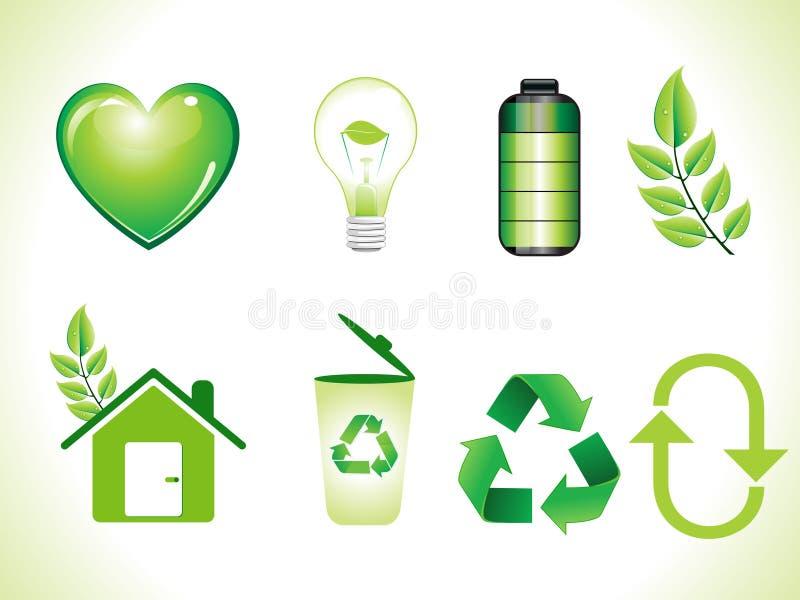 Abstract shiny green eco icons set stock illustration