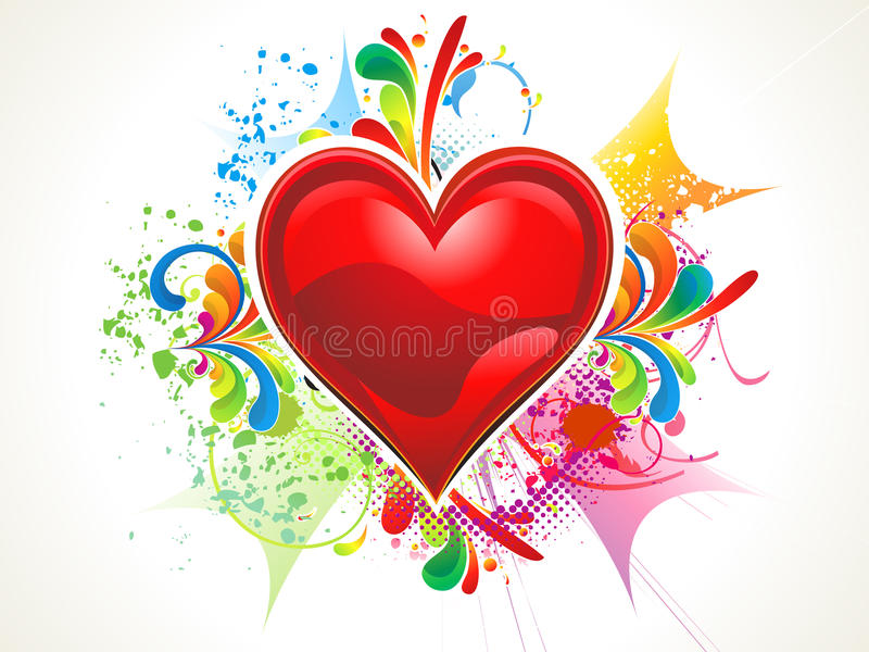 Abstract shiny red heart wallpaer royalty free illustration