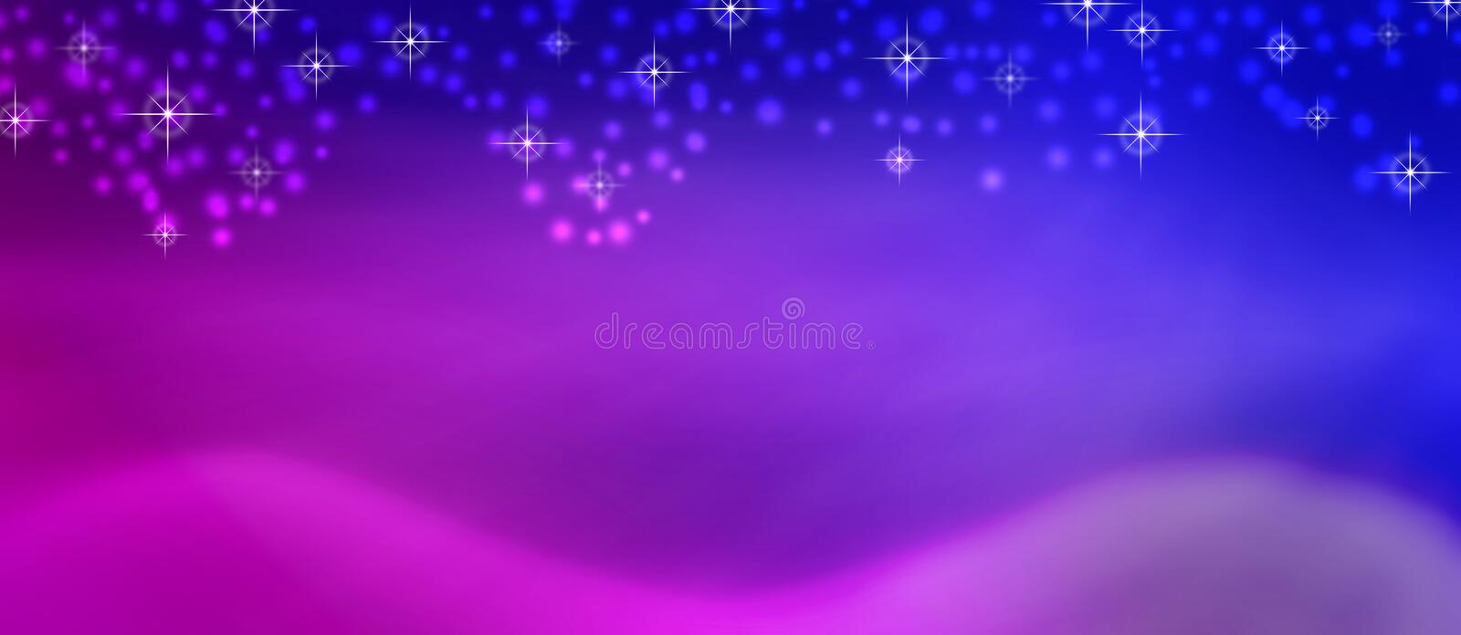 Abstract Shiny Sparkles and Snow Falling in Blurred Pink, Purple and Blue Background stock photos