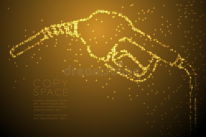 Abstract Shiny Star pattern Gas nozzle shape, transport energy concept design gold color illustration. Isolated on brown gradient background with copy space vector illustration