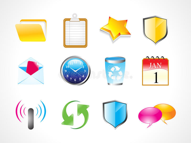 Download Abstract Shiny Web Icon Set Stock Vector - Image: 19272406
