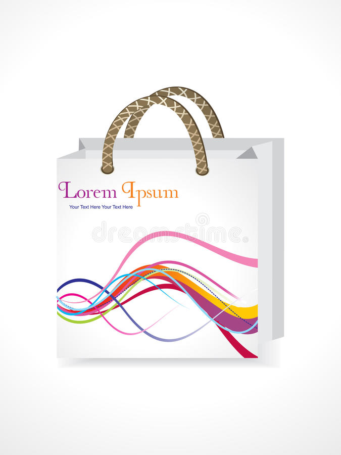 Free Abstract Shopping Bag With Colorful Waves Royalty Free Stock Image - 16360526