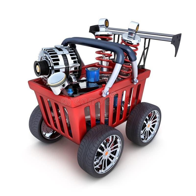 Free Abstract Shopping Cart And Car Parts Royalty Free Stock Image - 75787536