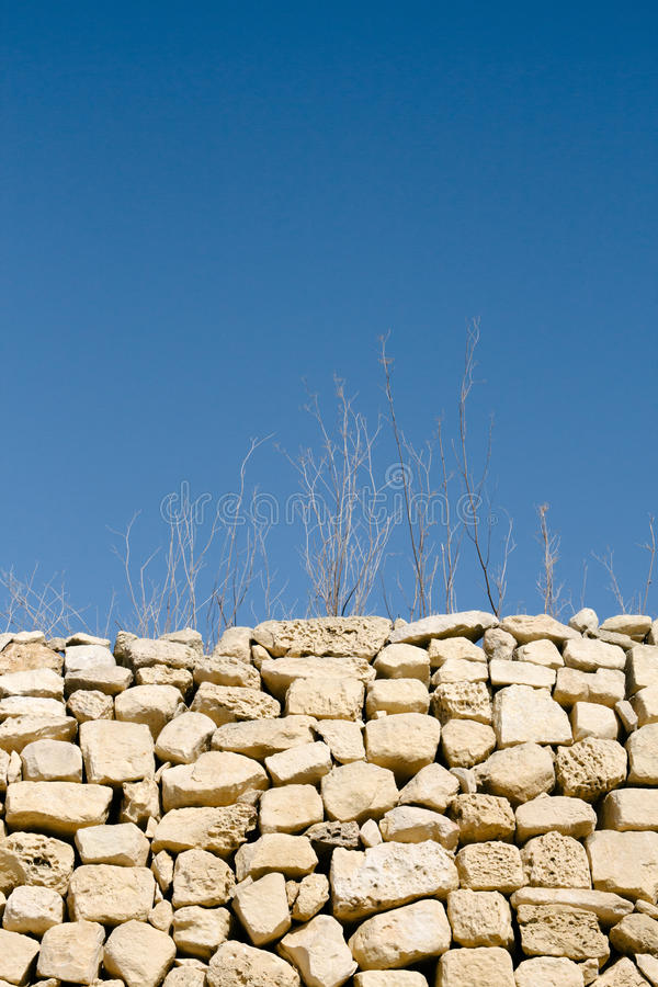 Abstract shot of sticks and grass in dry weather and rubble wall stock photo