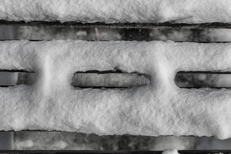 Abstract shot upside down of a snow covered pier in Diosjeno, Hu stock images