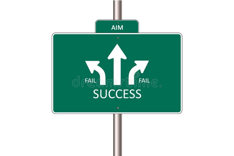 Abstract Sign board AIM Go Straight For Success royalty free illustration