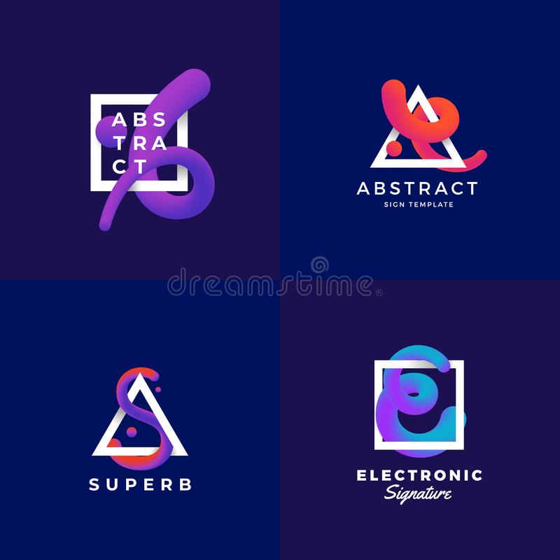 Abstract Signs or Logo Templates Set. Elegant Vector Blend Curve in a Frame with Ultraviolet Gradient and Modern. Typography. Dark Blue Background royalty free illustration