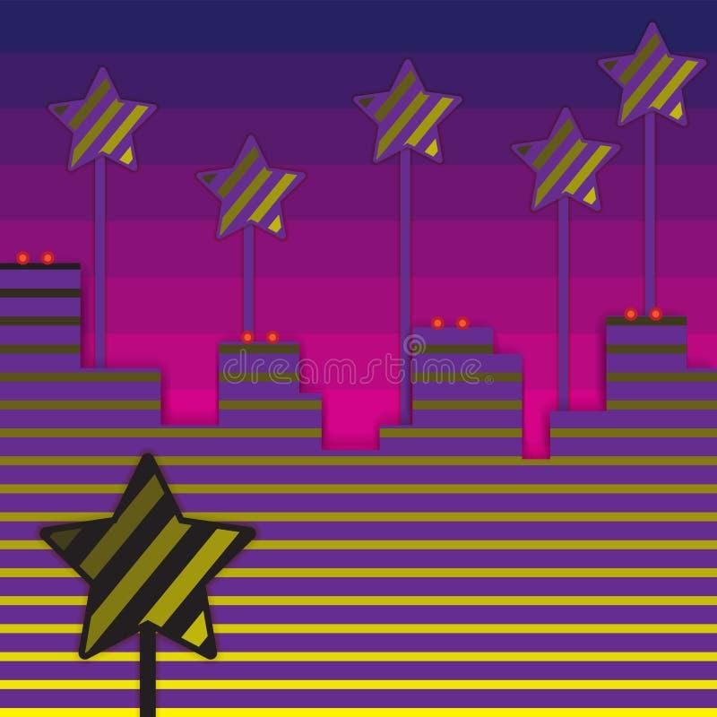 Abstract silhouet als achtergrond van de stadsstrepen de sterren Het papieren zakdoekjebanner van het drukontwerp Vector illustra stock illustratie