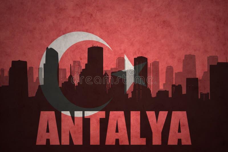 abstract silhouet van de stad met tekst Antalya bij de uitstekende Turkse vlag royalty-vrije illustratie