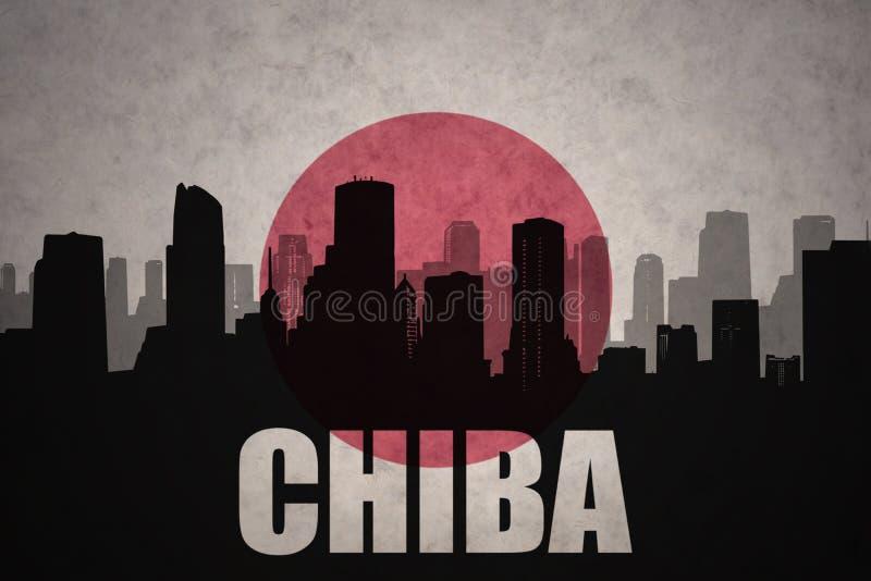 Abstract silhouet van de stad met tekst Chiba bij de uitstekende Japanse vlag stock foto's