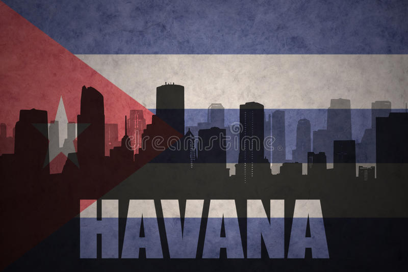 Abstract silhouet van de stad met tekst Havana bij de uitstekende Cubaanse vlag stock illustratie