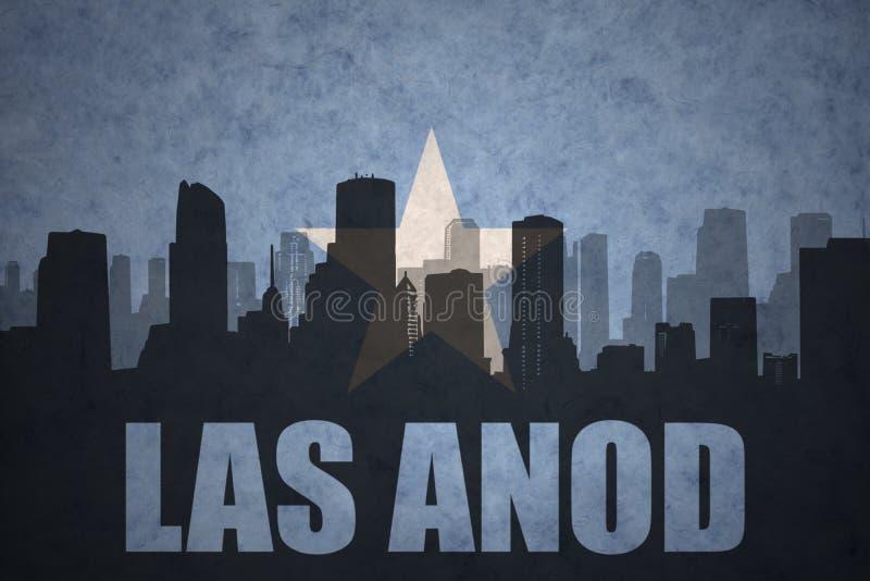 Abstract silhouet van de stad met tekst Las Anod bij de uitstekende vlag van Somalië stock illustratie