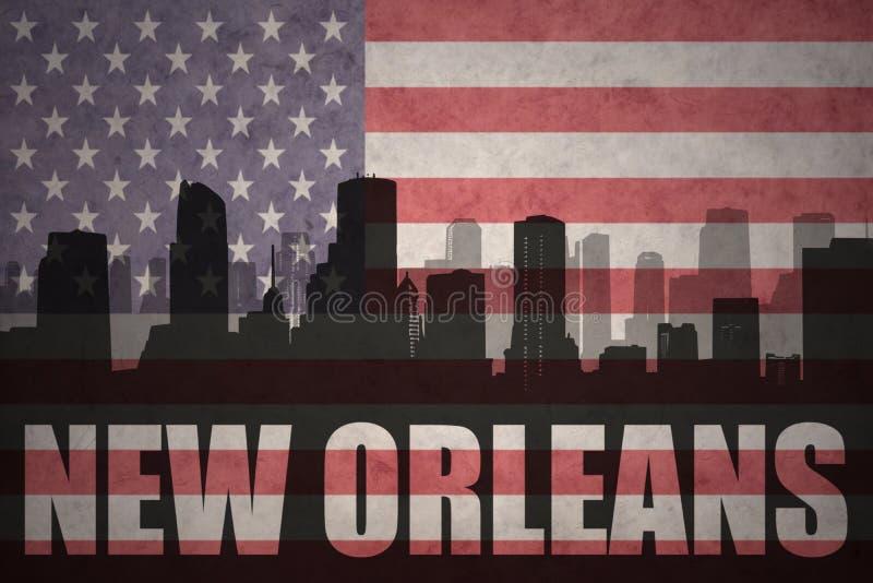 Abstract silhouet van de stad met tekst New Orleans bij de uitstekende Amerikaanse vlag royalty-vrije stock foto's