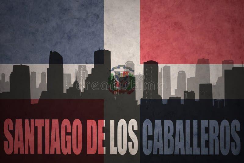 Abstract silhouet van de stad met tekst Santiago DE los Caballeros bij de uitstekende vlag van de Dominicaanse republiek stock fotografie