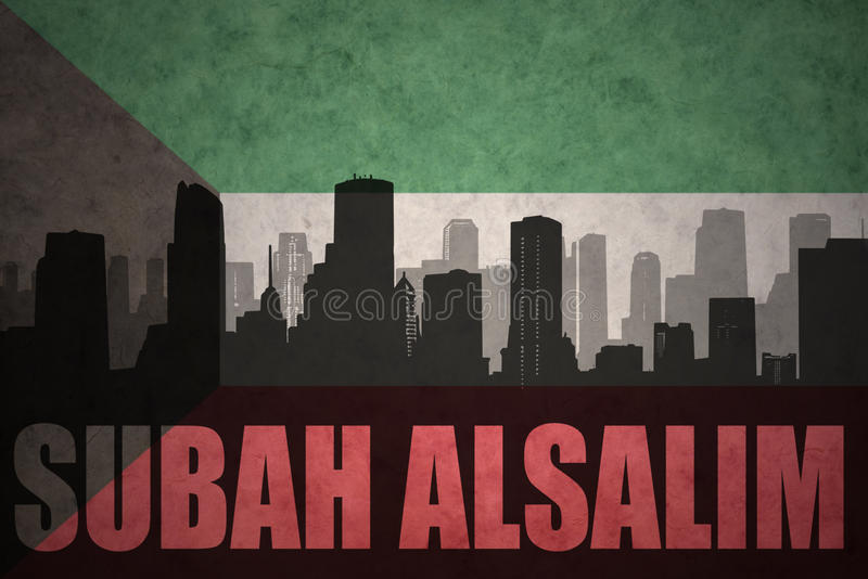 abstract silhouet van de stad met tekst Subah Alsalim bij de uitstekende vlag van Koeweit vector illustratie