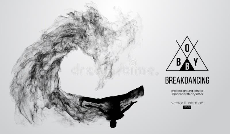 Abstract silhouet van een breakdancer, bboy mens, breker, die op de witte achtergrond breken De Danser van de hiphop Vector stock illustratie