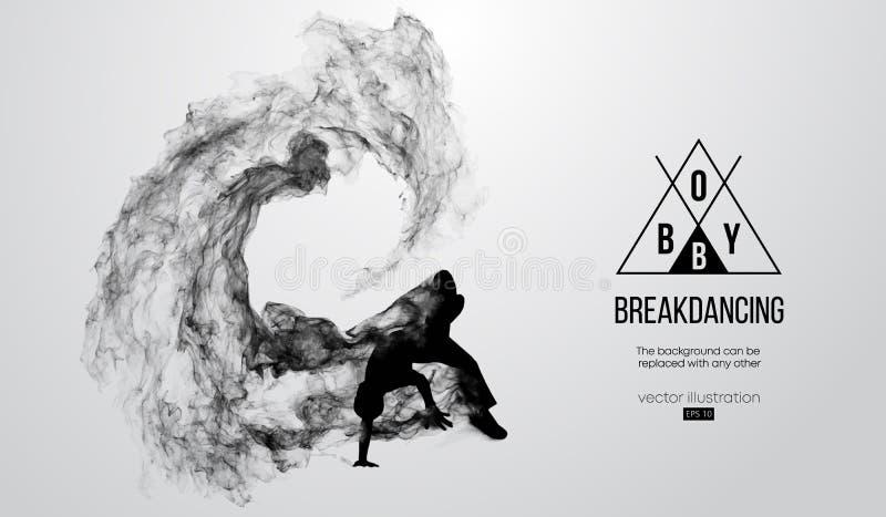 Abstract silhouet van een breakdancer, bboy mens, breker, die op de witte achtergrond breken De Danser van de hiphop Vector royalty-vrije illustratie