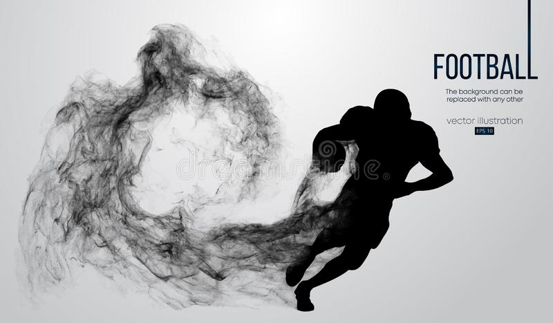 Abstract silhouette of a american football player on dark black background. Football player running with ball. Rugby. vector illustration