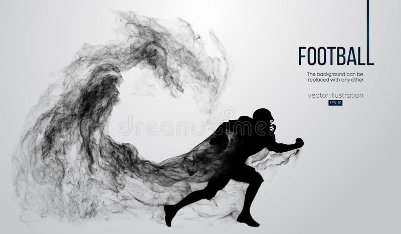 Abstract silhouette of a american football player on dark black background. Football player running with ball. Rugby. royalty free illustration