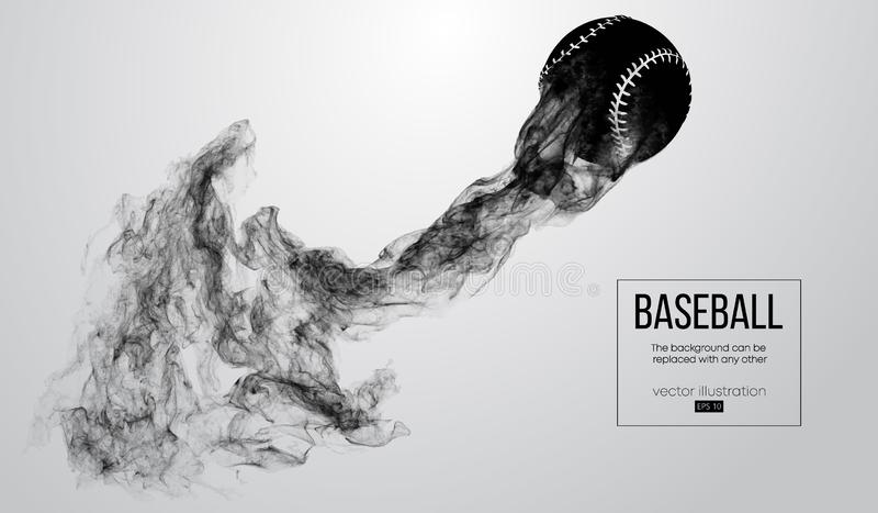 Abstract silhouette of a baseball ball on white background from particles, dust, smoke. Baseball ball flies. Background can be changed to any other. Vector