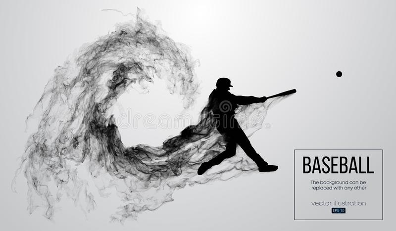 Abstract silhouette of a baseball player batter on white background from particles. Baseball player batter hits the ball. Abstract silhouette of a baseball
