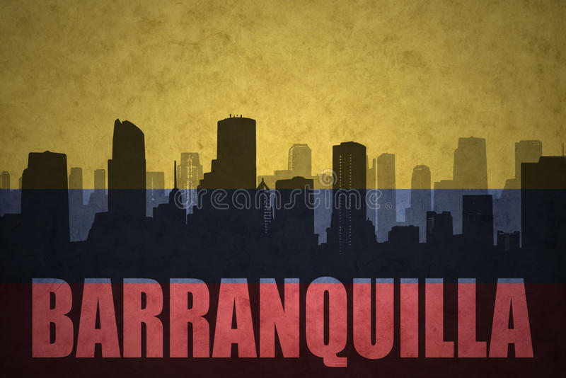 Abstract silhouette of the city with text Barranquilla at the vintage colombian flag vector illustration