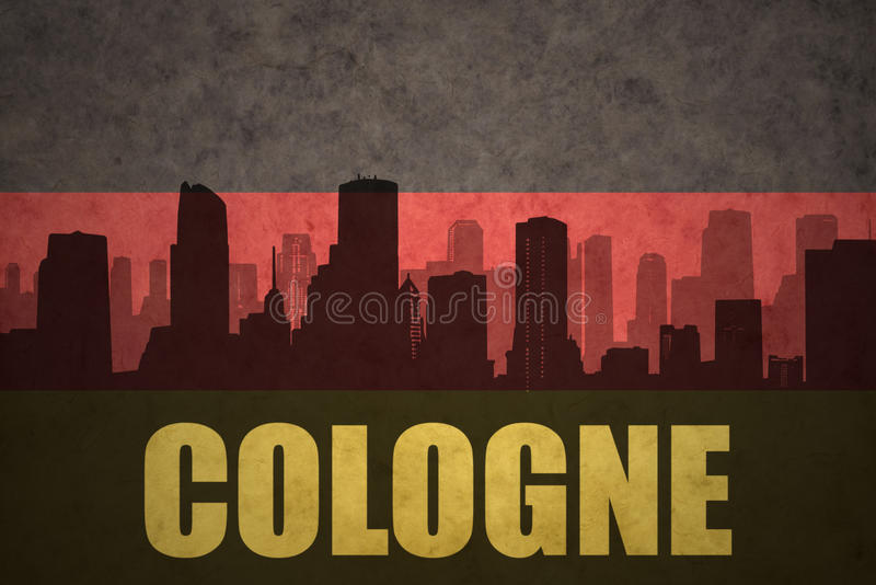 Abstract silhouette of the city with text Cologne at the vintage german flag royalty free stock image
