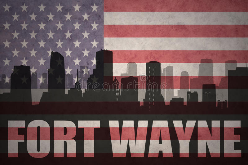Abstract silhouette of the city with text Fort Wayne at the vintage american flag. Background stock images