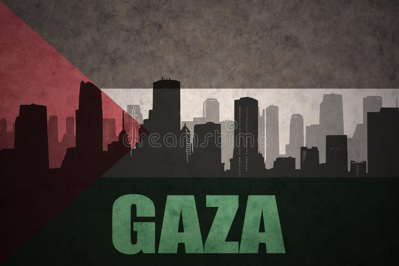 Abstract silhouette of the city with text Gaza at the vintage palestinian flag. Background vector illustration