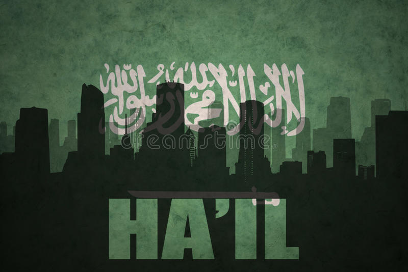 Abstract silhouette of the city with text Ha`il at the vintage saudi arabia flag. Background stock image