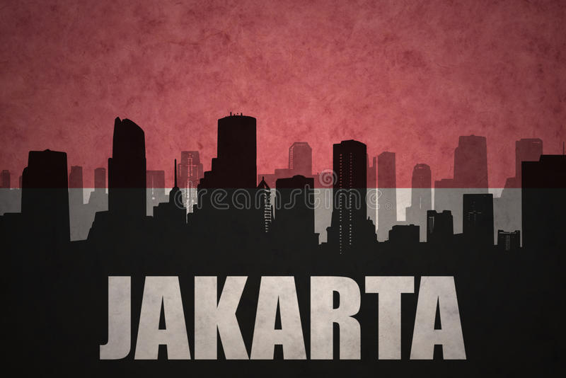 abstract silhouette of the city with text jakarta at the vintage indonesian flag royalty free illustration