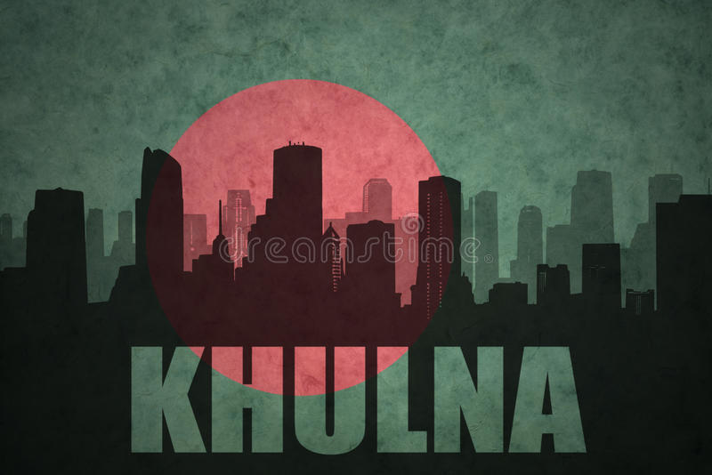 Abstract silhouette of the city with text Khulna at the vintage bangladesh flag. Background stock photo