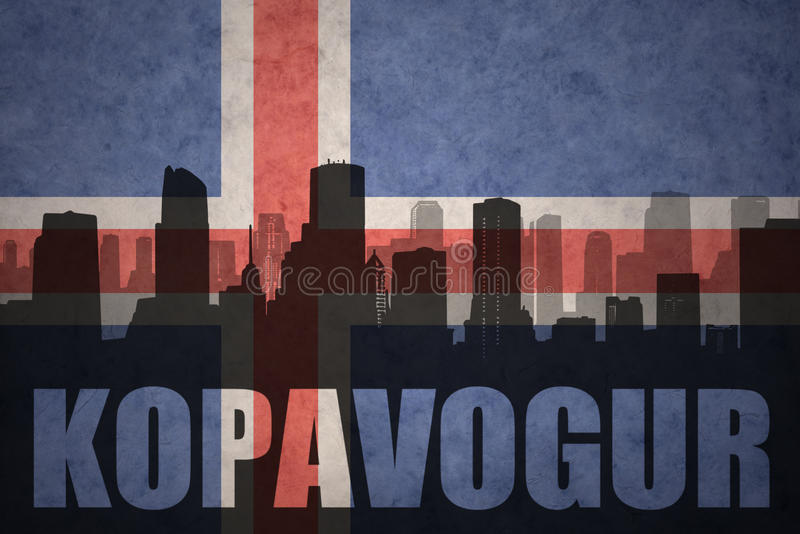 Abstract silhouette of the city with text Kopavogur at the vintage icelandic flag. Background stock photos