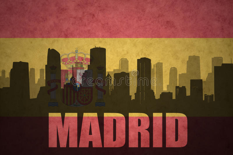 Abstract silhouette of the city with text Madrid at the spanish flag royalty free stock photography