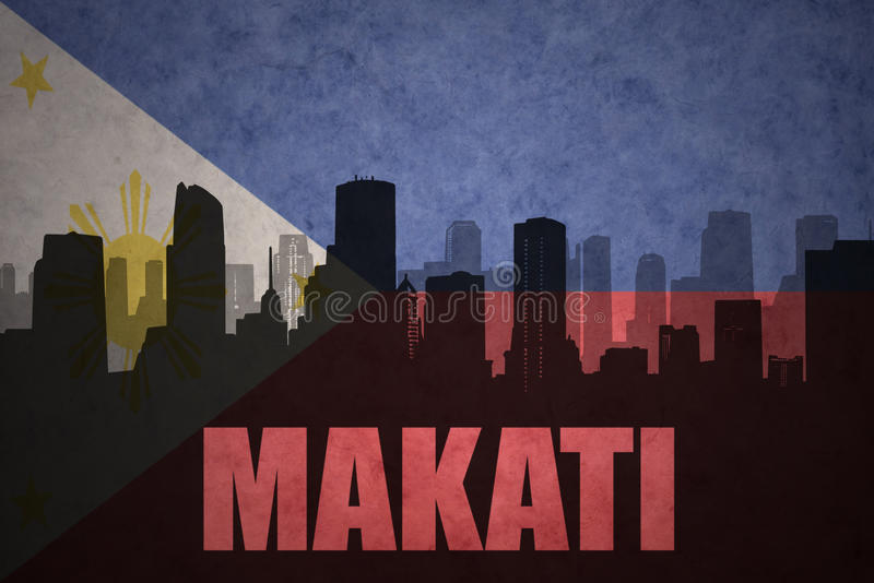 abstract silhouette of the city with text Makati at the vintage philippines flag royalty free illustration