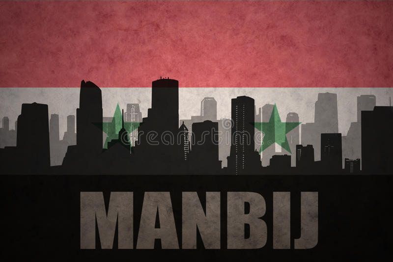 abstract silhouette of the city with text Manbij at the vintage syrian flag royalty free illustration