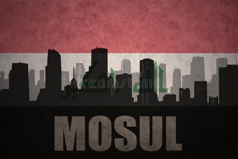 abstract silhouette of the city with text Mosul at the vintage iraqi flag royalty free illustration
