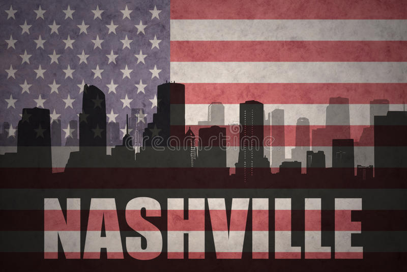 Abstract silhouette of the city with text Nashville at the vintage american flag royalty free illustration